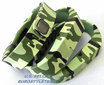 3pcs Small Green Camouflage Army Bands & Clasps For Fitbit Flex  /No Tracker