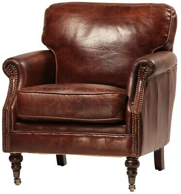 """29"""" Wide club arm chair vintage brown cigar Italian leather comfort cool"""