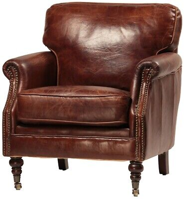 "29"" Wide club arm chair vintage brown cigar Italian leather comfort #916 cool"