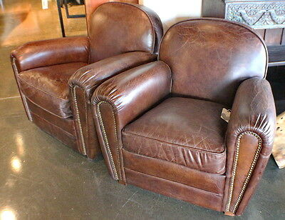 """Set of two 34"""" W Club armchair vintage cigar brown leather Nail head wood frame"""