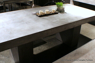 "71"" L dining table desk solid concrete cement modern sealed indoor outdoor"