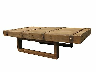 "65"" L Coffee Table Beautiful solid natural elm wood iron frame spectacular GM"