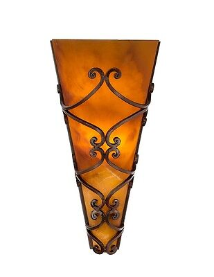 "17"" H Torch Sconce light Amber onyx stone Hand forged wrought Iron 100% handmade"