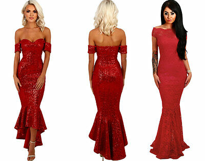 Boutique Red Sequin Lace Bardot Fishtail Mermaid Party Dress Prom Ball Gown