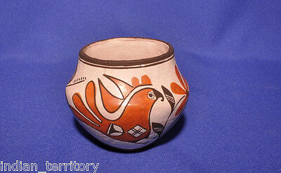 Acoma Indian Polychrome Parrot and Floral Pictorial Pot by Lucy Lewis c.1970