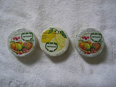 3 French Fruit Drop Candy Tins/Empty/ Terassa Assorted & Lemon /1980s VIntage