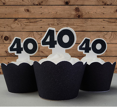 40th Birthday edible cupcake cake toppers wafer black anniversary