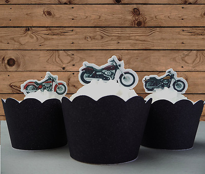 #661 Motorbike EDIBLE stand up cake cupcake toppers Bachelor Party