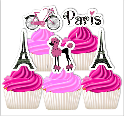 Paris EDIBLE wafer cupcake cake toppers high tea hens night kitchen 30th 40th