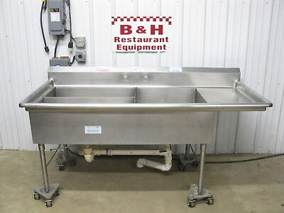 "77"" x 36"" Three 3 Bowl Compartment Stainless Steel Prep Wash Sink 6' 5"" x 3'"