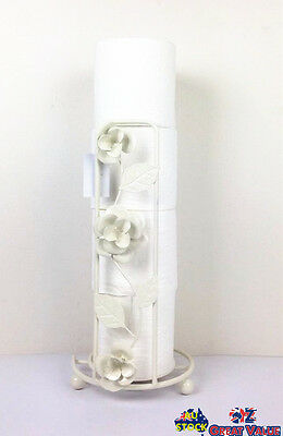 Metal Rose Tissue Stand Paper Towel Toilet Paper Roll Holder Bathroom Deco 3082