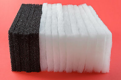 Aqua One 850 compatible: 20 Poly Wool & 6 Carbon Foam Filter Pads