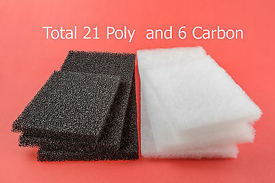 Aqua One 980 Compatible: 21 Poly Wool Pads & 6 Carbon Impregnated Foam Pads