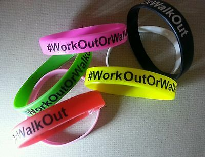 New Multi-Color Silicone Rubber Wristbands Bracelets - HASHTAG #WorkOutOrWalkOut