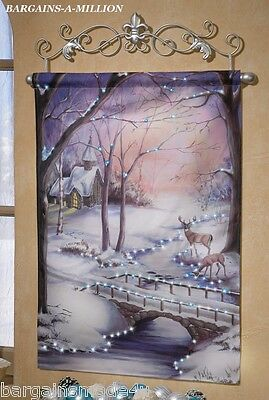 Holiday Winter Scene Lighted Canvas Hanging Wall Tapestry Scrolled Metal Hanger