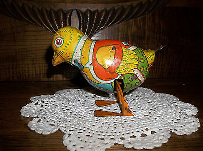ANTIQUE TIN? METAL? WIND UP WALKING TOY BABY CHICKEN  U.S.A. GREAT SHAPE