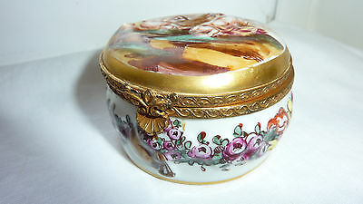 Antique Capo di Monte Porcelain Jewelry or Dresser Box- Very Eirly Mark