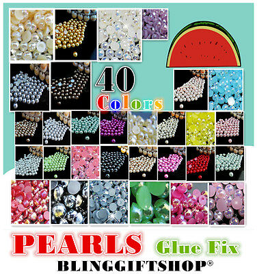 No.1 Pearls Resin Flat Back Rhinestones Diamante Gems Ab Colours Nail Art Crafts