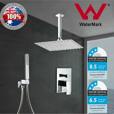 Chrome Square Ultrathin Shower Head Brass Handheld Spray Set Mixer Tap Diverter