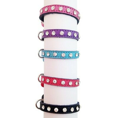 Collar Cat Kitten Puppy Pet Pets safety release adjustable Rhinestone Leather