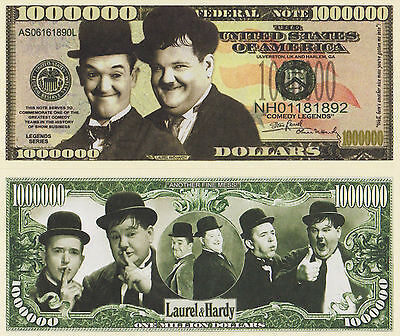 RARE: Laurel and Hardy $1,000,000 Novelty Note, (Comedy) Buy 5 Get one FREE