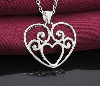 925 Silver Plated Heart Locket Pendant Romantic Necklace Rolo Chain 18 Inch Gift