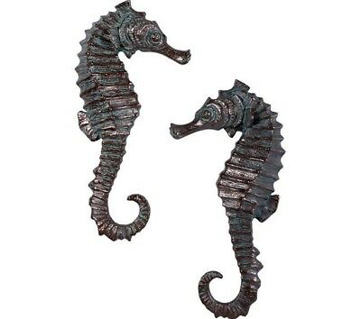 """Seahorse 24"""" Wall Hanging Set of 2 Green Bronze Finish Resin Statue"""