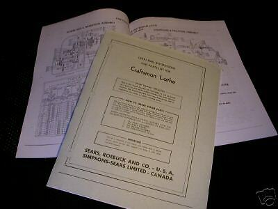 Craftsman Model 109.21270 Lathe Parts Manual / Operating Instructions
