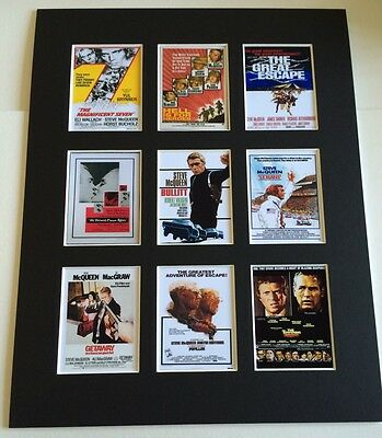 """Steve Mcqueen Retro Posters 14"""" By 11"""" Picture Mounted Ready To Frame"""