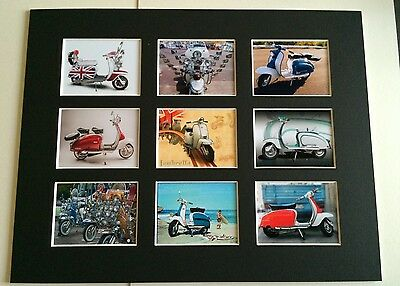 "Lambretta Scooter Retro Posters 14"" By 11"" Picture Mounted Ready To Frame"