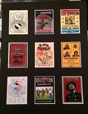 "Led Zeppelin Retro Tour Posters 14"" By 11"" Picture Mounted Ready To Frame"