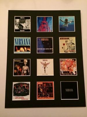 "Nirvana Kurt Cobain 14"" By 11"" Lp Discography Covers Pic Mounted Ready To Frame"