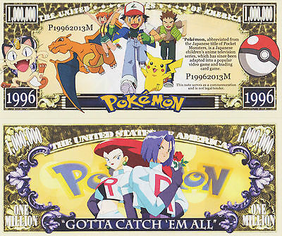 RARE: Pokemon $1,000,000 Novelty Note, TV Shows/Cartoons Buy 5 Get one FREE