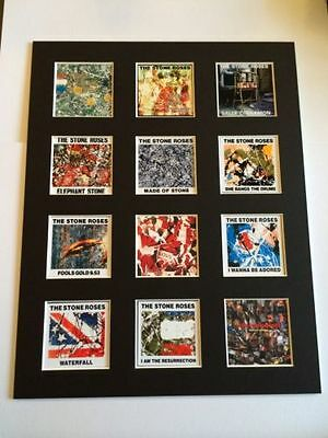 "Stone Roses 14"" By 11"" Lp Discography Covers Picture Mounted Ready To Frame"