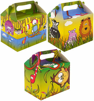 Jungle Party Food Lunch Boxes Childrens Animals Gift Bags Loot Themed Birthday