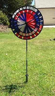 TWO *High Quality* Triple Garden Pinwheel Spinner- Patriotic and Rainbow