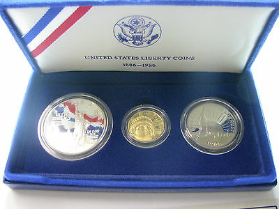1986 US Mint Statue of Liberty Commemorative 3 Coin Proof Set - $5 Gold NICE!!!