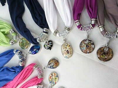 *US Seller*lot of 5 lampwork Murano glass handmade pendant necklace scarf