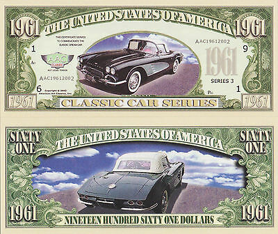 RARE: Corvette $1,961.00 Novelty Note, Automobilia Buy 5 Get one FREE
