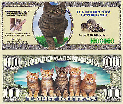 RARE: Tabby Cat $1,000,000 Novelty Note, Feline Buy 5 Get one FREE