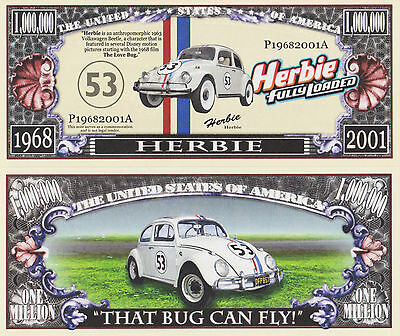 RARE: Herbie Fully Loaded $1,000,000 Novelty Note, Movies Buy 5 Get one FREE