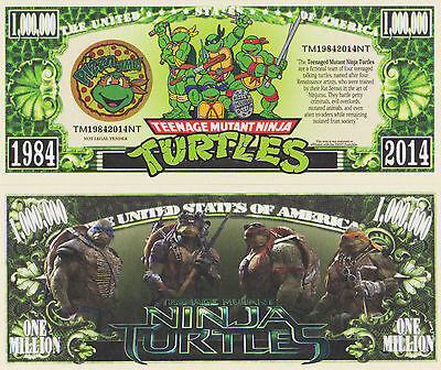 RARE: Ninja Turtles TMNT $1,000,000 Novelty Note, Movies Buy 5 Get one FREE