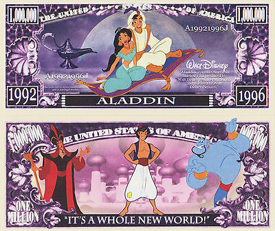 RARE: Aladdin $1,000,000 Novelty Note, Movies Buy 5 Get one FREE