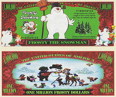 RARE: Frosty The Snowman $1,000,000 Novelty Note, Movies Buy 5 Get one FREE