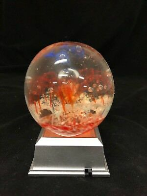Glass Paperweight With Bullicante (Controlled Bubbles) With Led 4 Light Base