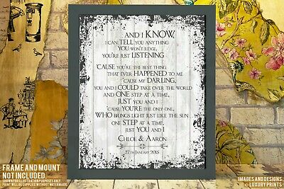 Your Lyrics Word Anniversary Song Gift Present Canvas Shabby Chic Art Print