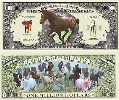 RARE: Horses $1,000,000 Novelty Note, Animals Buy 5 Get one FREE
