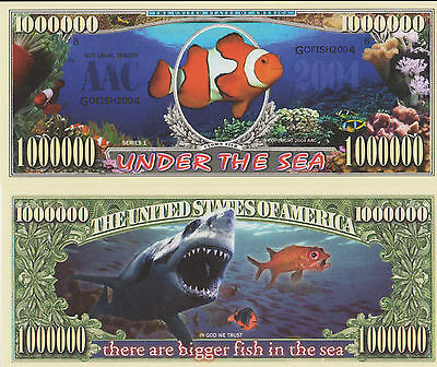 RARE: Under The Sea $1,000,000 Novelty Note, Animals Buy 5 Get one FREE