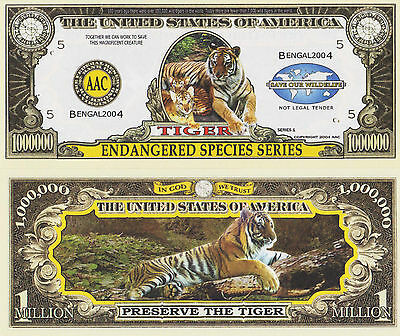 RARE: Tiger (Endangered Species) $1,000,000 Novelty Note, Buy 5 Get one FREE