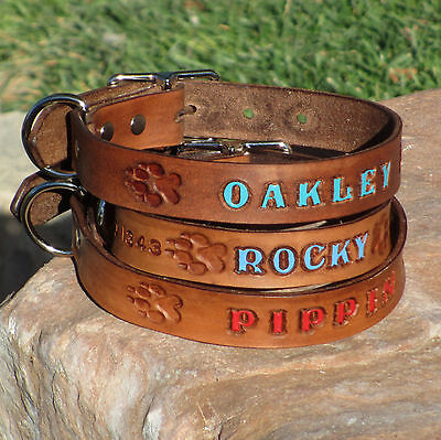 "High Quality Thick Brown 1"" Real Leather Dog Collar, Personalized Pet Name"